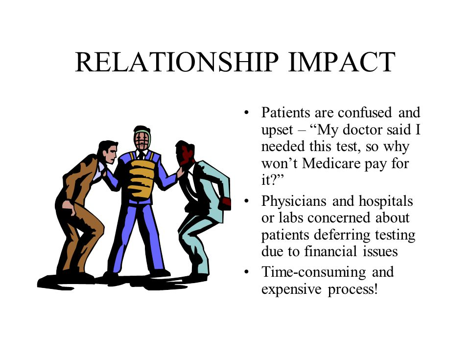 "RELATIONSHIP IMPACT Patients are confused and upset – ""My doctor said I needed this test, so why won't Medicare pay for it?"" Physicians and hospitals"