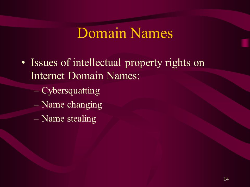 14 Domain Names Issues of intellectual property rights on Internet Domain Names: –Cybersquatting –Name changing –Name stealing