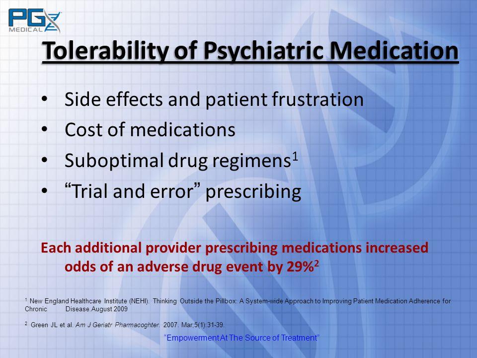 """Empowerment At The Source of Treatment"" Tolerability of Psychiatric Medication Side effects and patient frustration Cost of medications Suboptimal dr"