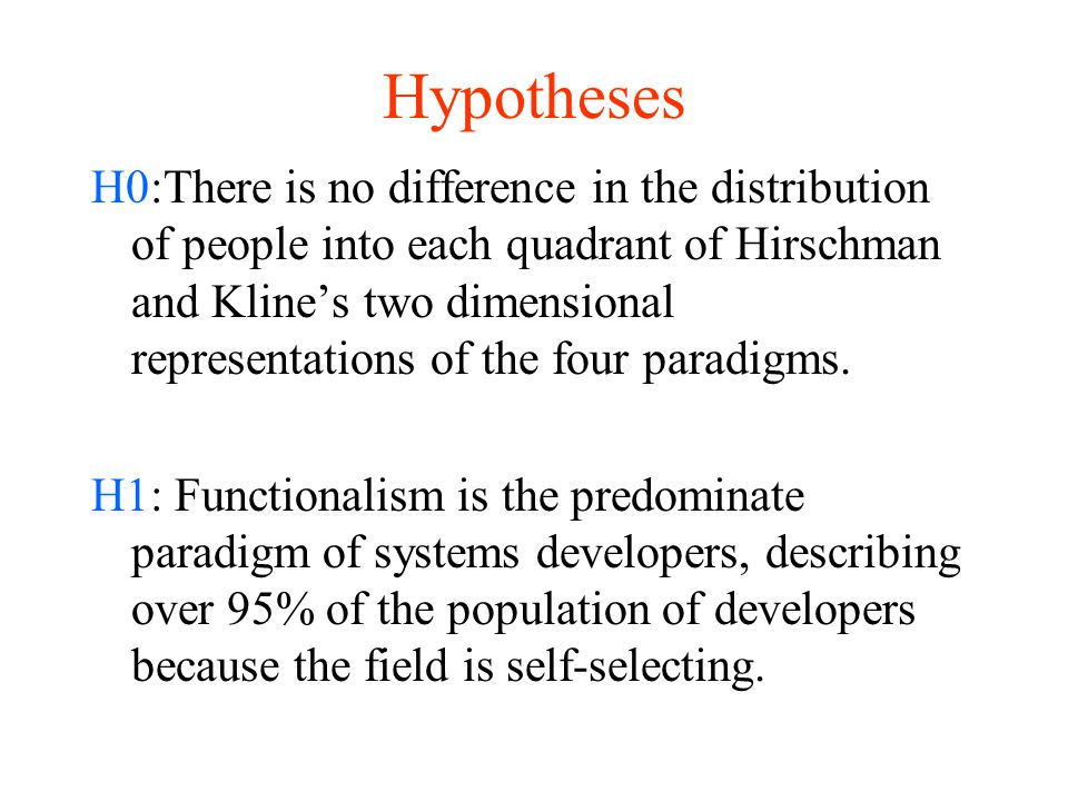 Hypotheses H0:There is no difference in the distribution of people into each quadrant of Hirschman and Kline's two dimensional representations of the four paradigms.