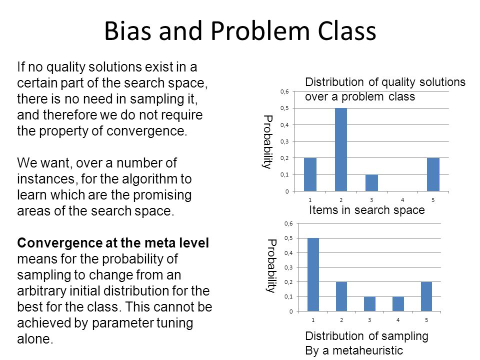 Bias and Problem Class If no quality solutions exist in a certain part of the search space, there is no need in sampling it, and therefore we do not require the property of convergence.