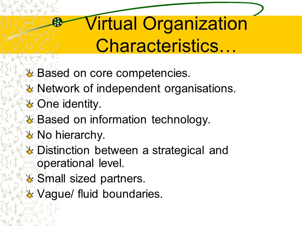 Virtual Organization Characteristics… Based on core competencies.
