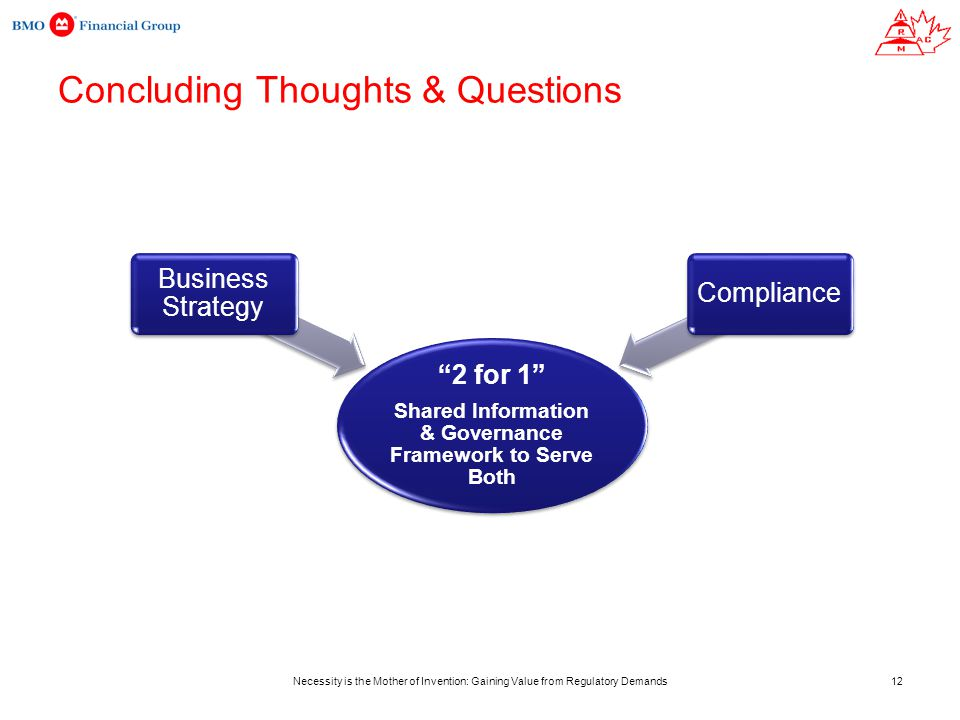 Necessity is the Mother of Invention: Gaining Value from Regulatory Demands Concluding Thoughts & Questions 2 for 1 Shared Information & Governance Framework to Serve Both Business Strategy Compliance 12