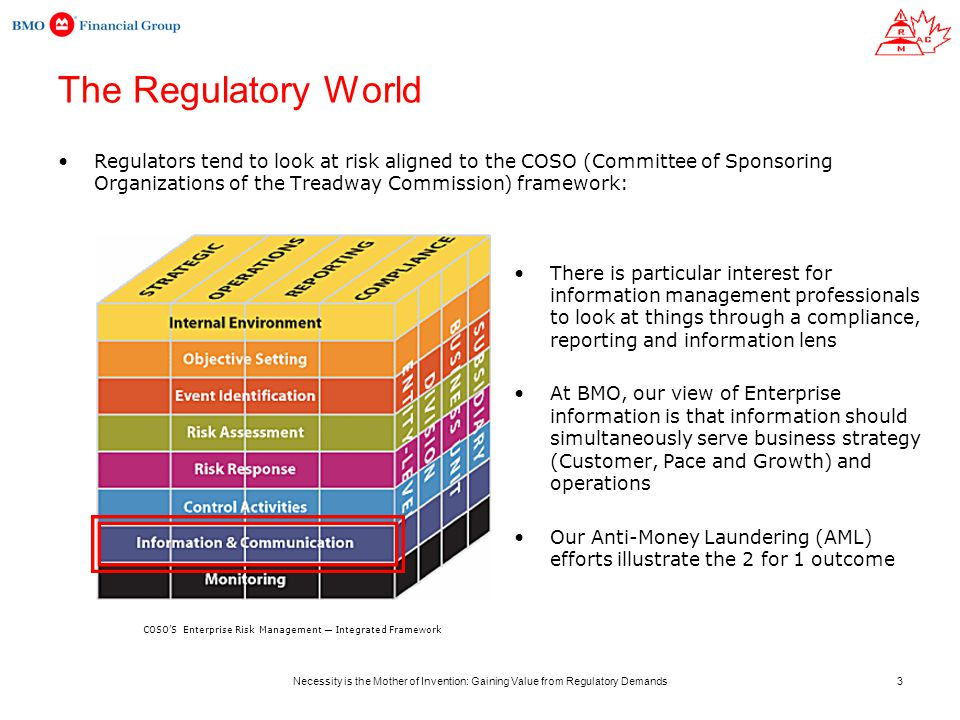 Necessity is the Mother of Invention: Gaining Value from Regulatory Demands The Regulatory World Regulators tend to look at risk aligned to the COSO (Committee of Sponsoring Organizations of the Treadway Commission) framework: There is particular interest for information management professionals to look at things through a compliance, reporting and information lens At BMO, our view of Enterprise information is that information should simultaneously serve business strategy (Customer, Pace and Growth) and operations Our Anti-Money Laundering (AML) efforts illustrate the 2 for 1 outcome COSO'S Enterprise Risk Management — Integrated Framework 3