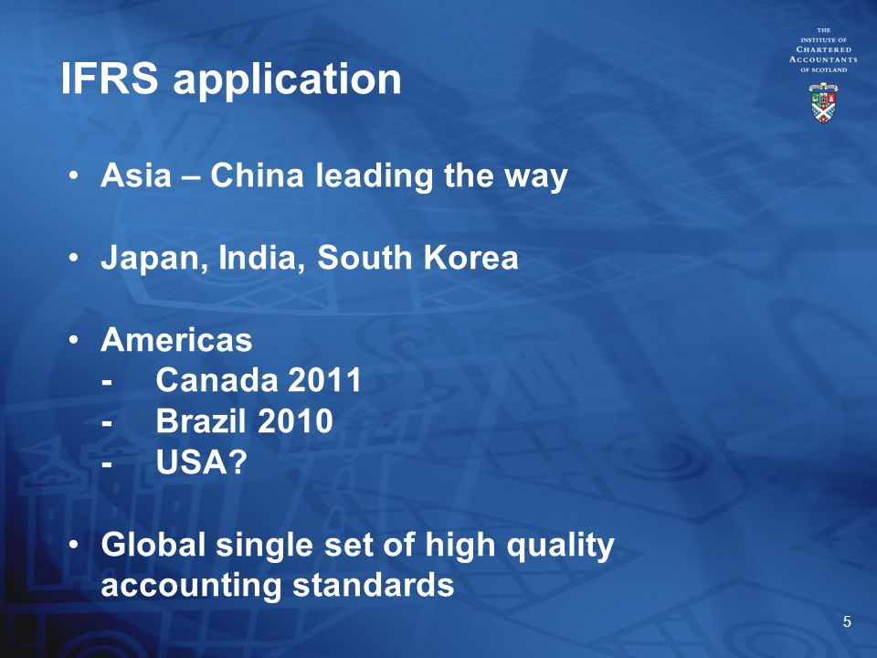 5 Asia – China leading the way Japan, India, South Korea Americas -Canada 2011 -Brazil 2010 -USA.