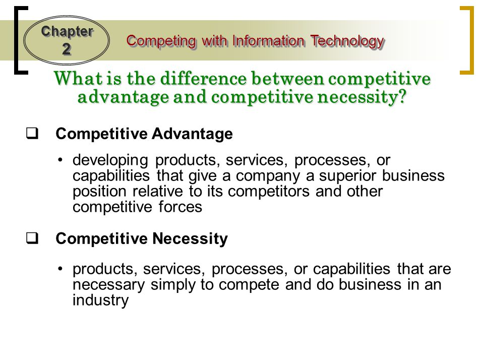 Chapter 2 Competing with Information Technology Customer Focused Businesses  Business that: respond to customer interests and concerns provide top-quality customer service anticipate customers' future needs Such as.