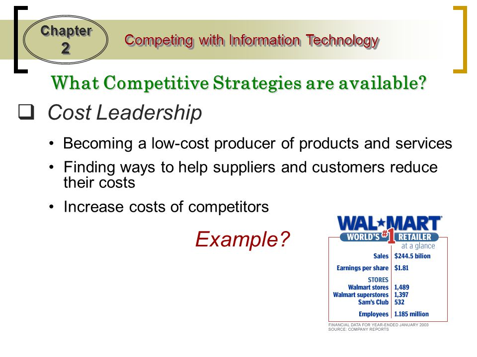 Chapter 2 Competing with Information Technology What Competitive Strategies are available.