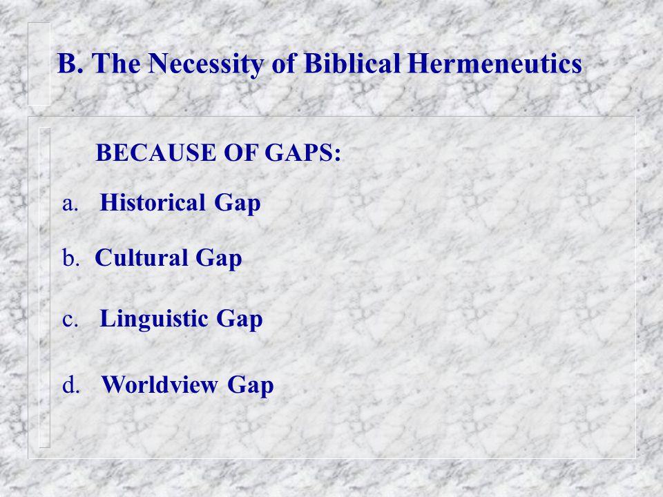 B. The Necessity of Biblical Hermeneutics BECAUSE OF GAPS: a.