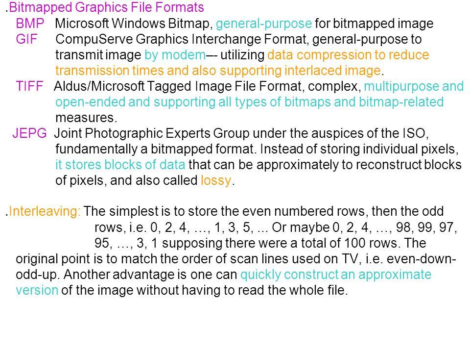 ․ Bitmapped Graphics File Formats BMP Microsoft Windows Bitmap, general-purpose for bitmapped image GIF CompuServe Graphics Interchange Format, genera