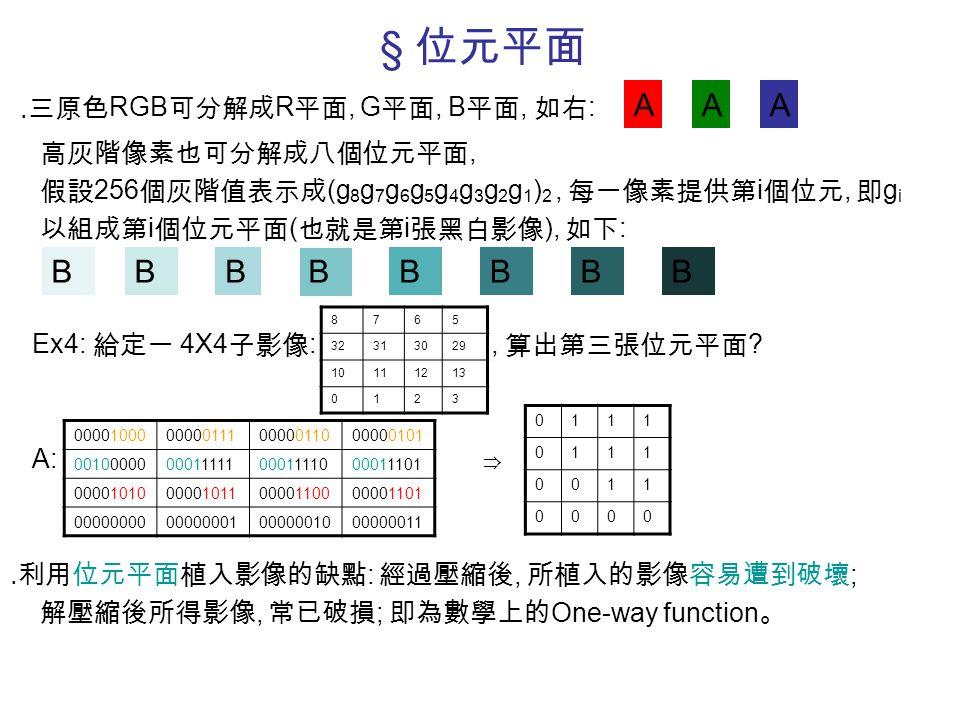 § 位元平面 ․三原色 RGB 可分解成 R 平面, G 平面, B 平面, 如右 : 高灰階像素也可分解成八個位元平面, 假設 256 個灰階值表示成 (g 8 g 7 g 6 g 5 g 4 g 3 g 2 g 1 ) 2, 每一像素提供第 i 個位元, 即 g i 以組成第 i 個位元平面 (