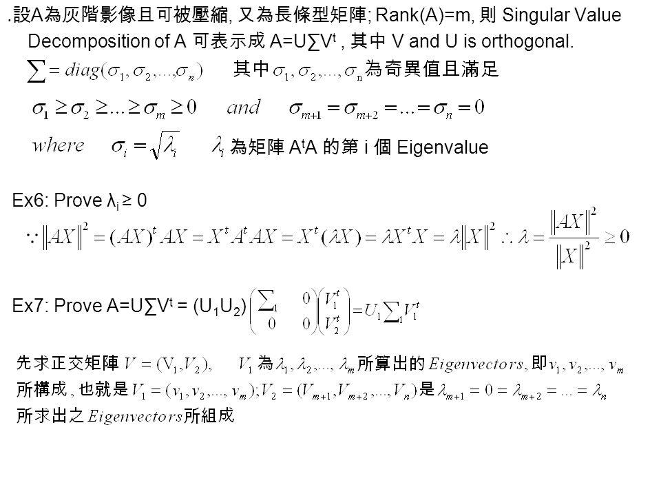 ․設 A 為灰階影像且可被壓縮, 又為長條型矩陣 ; Rank(A)=m, 則 Singular Value Decomposition of A 可表示成 A=U∑V t, 其中 V and U is orthogonal. 為矩陣 A t A 的第 i 個 Eigenvalue Ex6: Pro