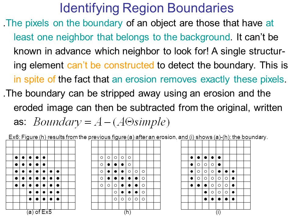 Identifying Region Boundaries ․ The pixels on the boundary of an object are those that have at least one neighbor that belongs to the background. It c