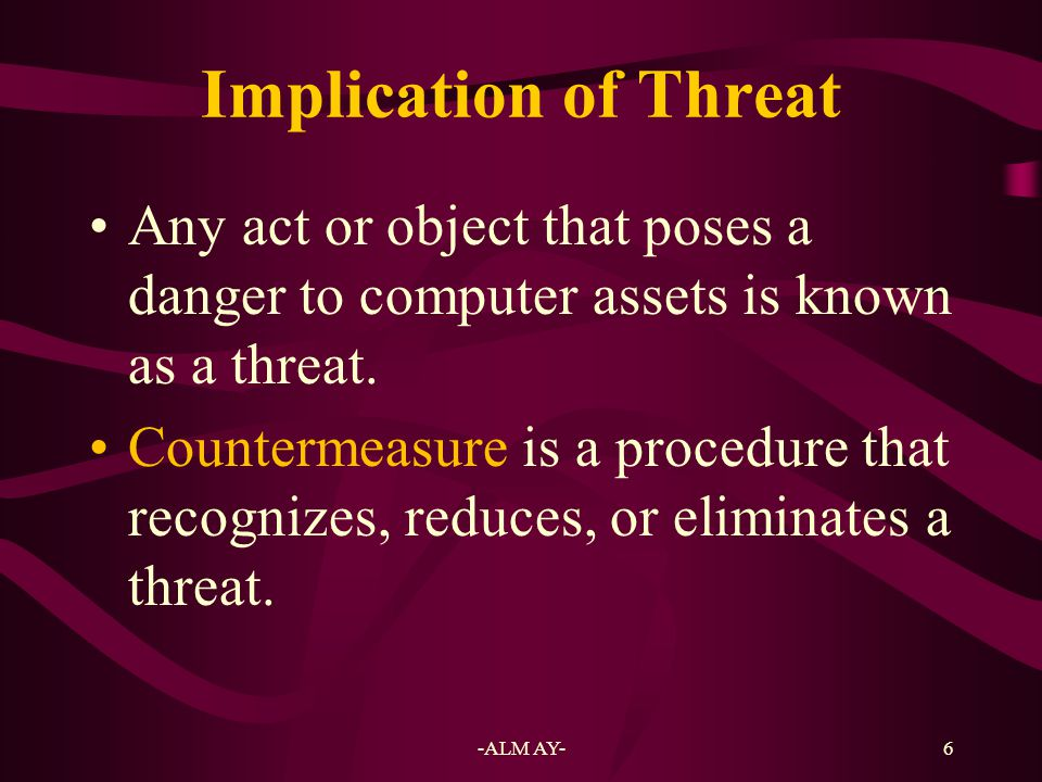 7 Computer Security Classification Three computer security categories: –Secrecy –Integrity –Necessity Secrecy refers to protecting against unauthorized data disclosure and ensuring the authenticity of the data's source.