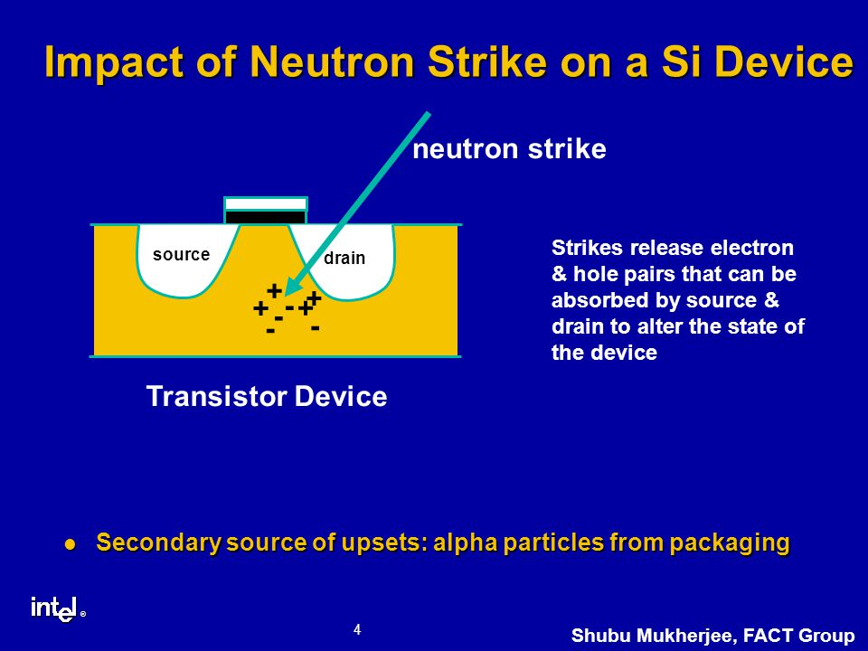 ® 4 Shubu Mukherjee, FACT Group Impact of Neutron Strike on a Si Device Secondary source of upsets: alpha particles from packaging Secondary source of upsets: alpha particles from packaging Strikes release electron & hole pairs that can be absorbed by source & drain to alter the state of the device + - + + + - - - Transistor Device source drain neutron strike