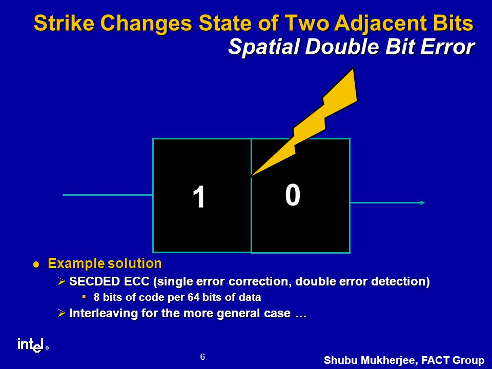 ® 6 Shubu Mukherjee, FACT Group Strike Changes State of Two Adjacent Bits Spatial Double Bit Error Example solution Example solution ØSECDED ECC (single error correction, double error detection)  8 bits of code per 64 bits of data ØInterleaving for the more general case … 0 1 1 0