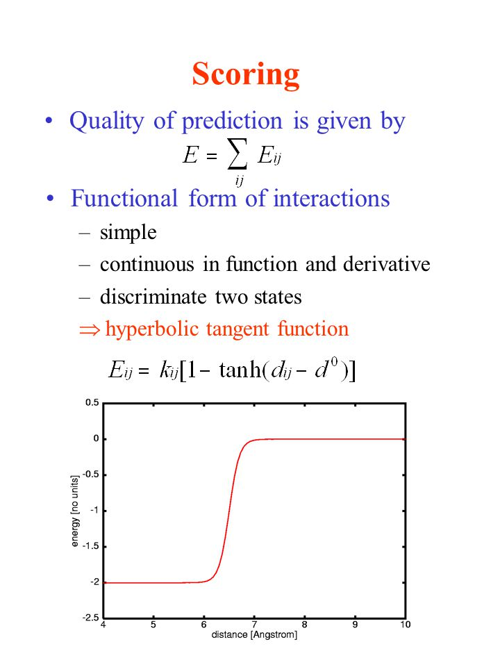 Scoring Quality of prediction is given by Functional form of interactions –simple –continuous in function and derivative –discriminate two states  hyperbolic tangent function