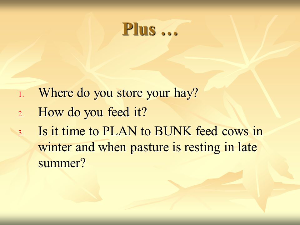 Plus … 1. Where do you store your hay? 2. How do you feed it? 3. Is it time to PLAN to BUNK feed cows in winter and when pasture is resting in late su