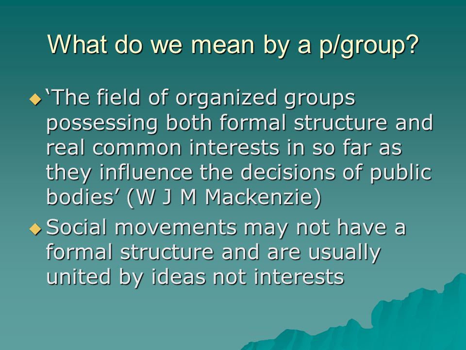 What do we mean by a p/group.