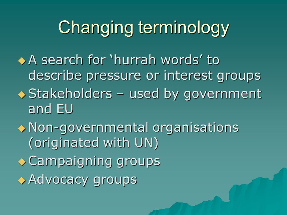 Changing terminology  A search for 'hurrah words' to describe pressure or interest groups  Stakeholders – used by government and EU  Non-governmental organisations (originated with UN)  Campaigning groups  Advocacy groups
