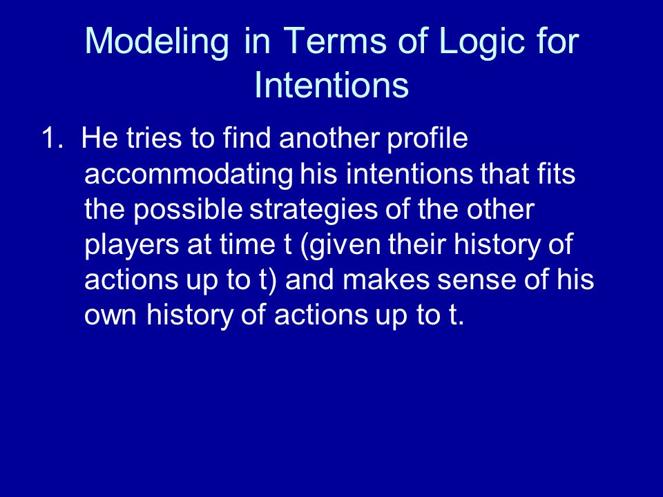 Modeling in Terms of Logic for Intentions 1.