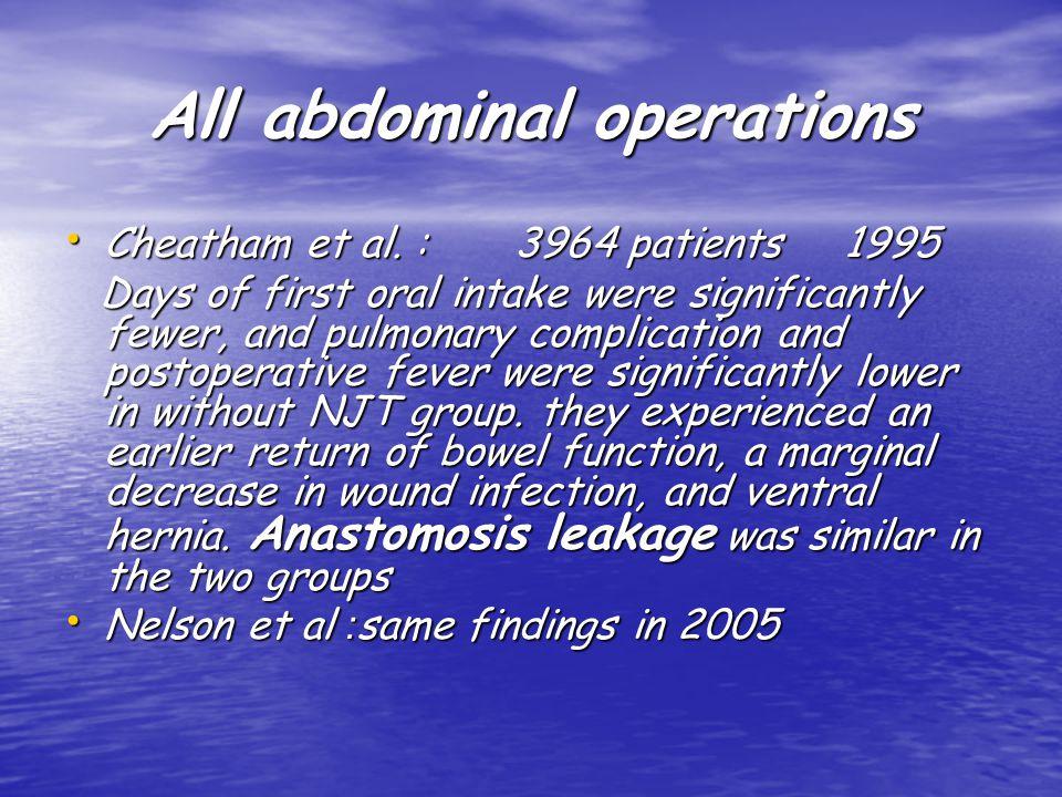All abdominal operations Cheatham et al. : 3964 patients 1995 Cheatham et al.