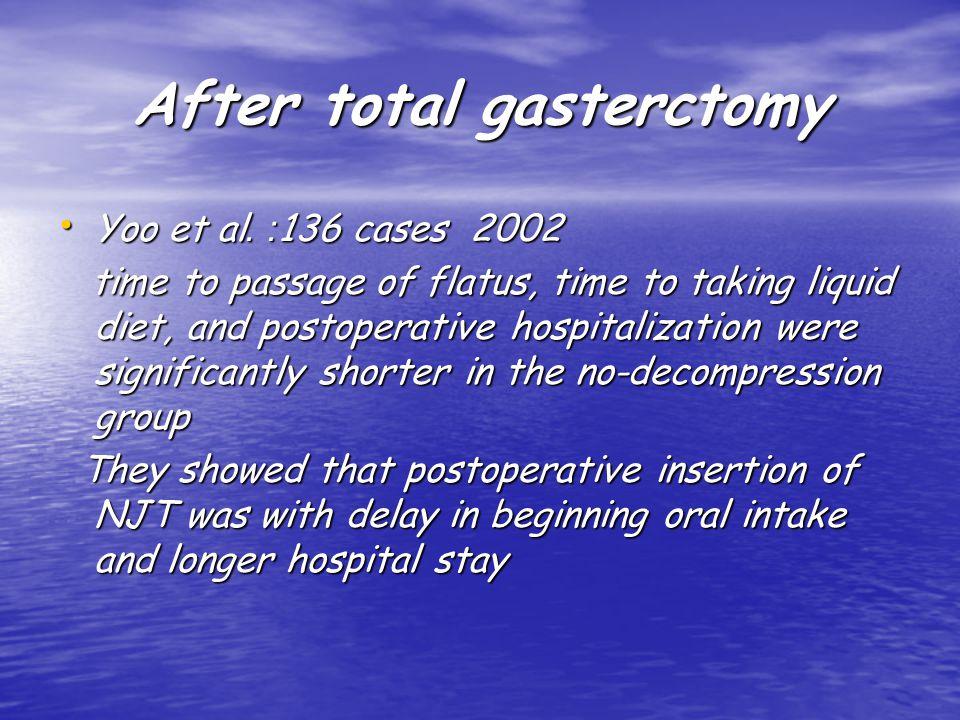 After total gasterctomy Yoo et al. :136 cases 2002 Yoo et al.