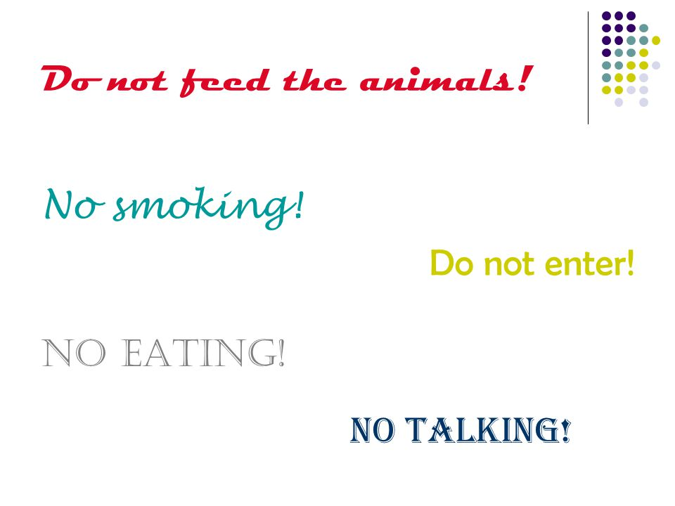 Do not feed the animals! No smoking! Do not enter! No eating! No talking!