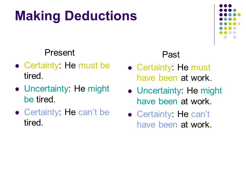 Making Deductions Present Certainty: He must be tired.