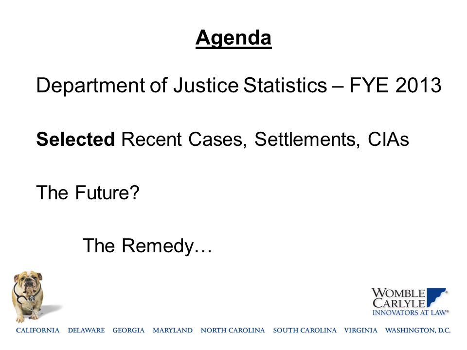 Agenda Department of Justice Statistics – FYE 2013 Selected Recent Cases, Settlements, CIAs The Future? The Remedy…