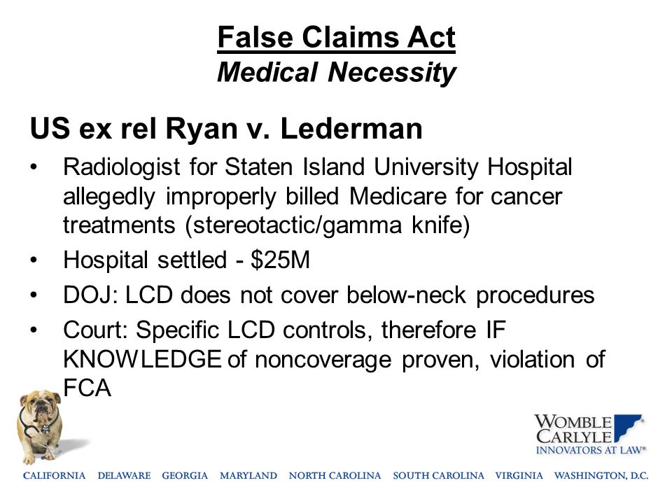 False Claims Act Medical Necessity US ex rel Ryan v.