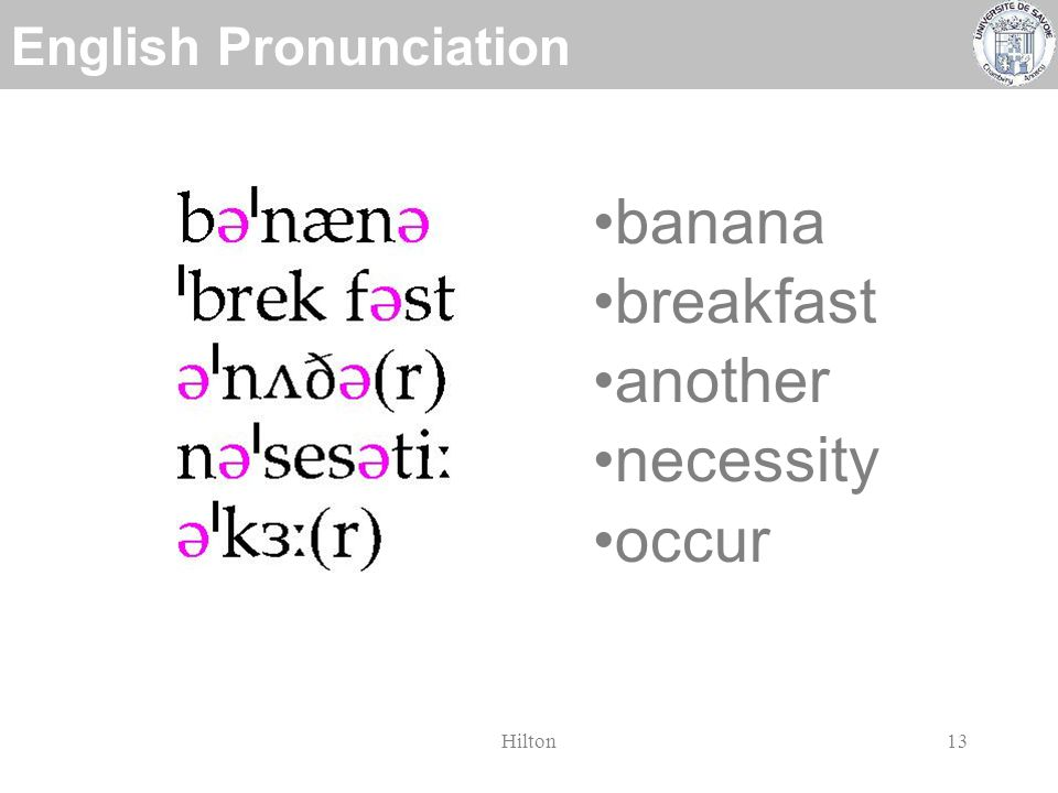 English Pronunciation Hilton12 banana breakfast another necessity occur syllable