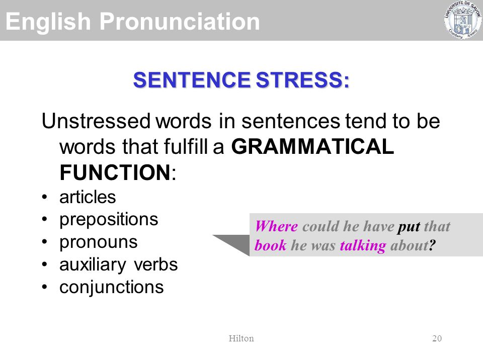 English Pronunciation Hilton19 SENTENCE STRESS: CONTENT WORDS CONTENT WORDS are stressed in normal speech: nouns verbs adjectives adverbs wh- words (interrogatives) Where could he have put that book he was talking about
