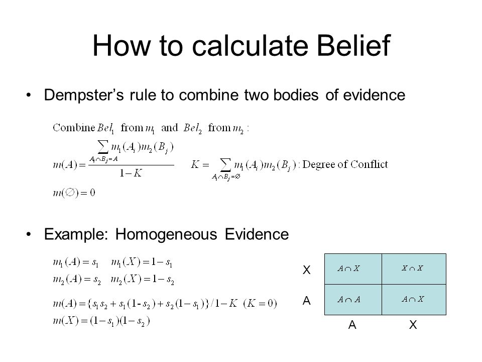 How to calculate Belief Dempster's rule to combine two bodies of evidence Example: Homogeneous Evidence AX A X