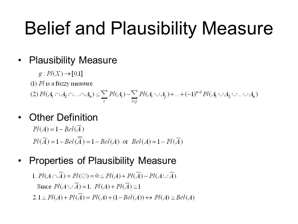 Belief and Plausibility Measure Plausibility Measure Other Definition Properties of Plausibility Measure