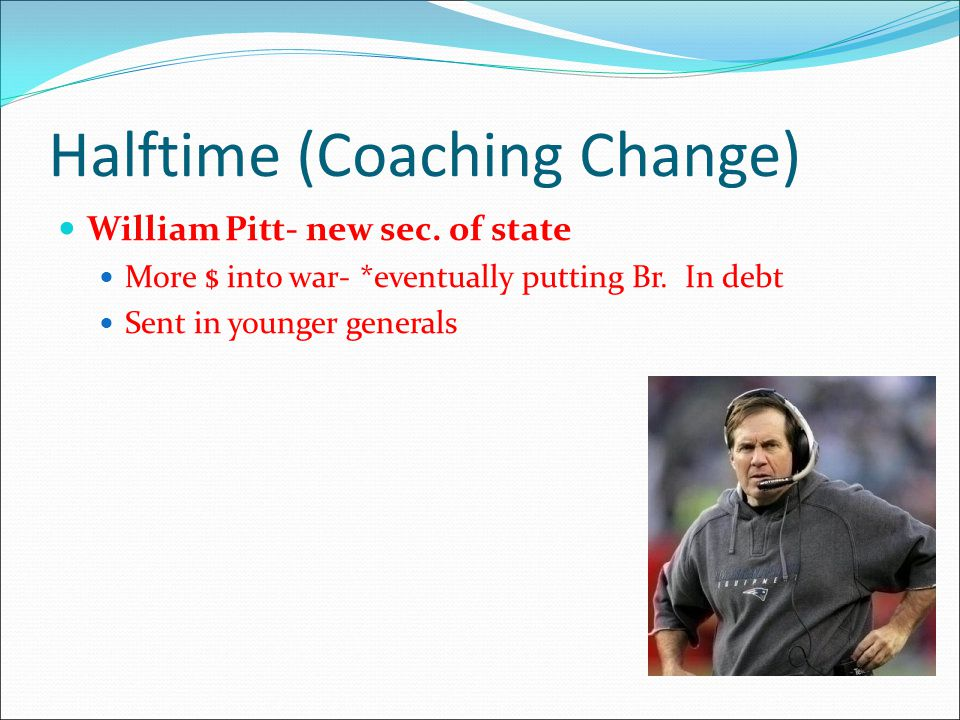 Halftime (Coaching Change) William Pitt- new sec.of state More $ into war- *eventually putting Br.