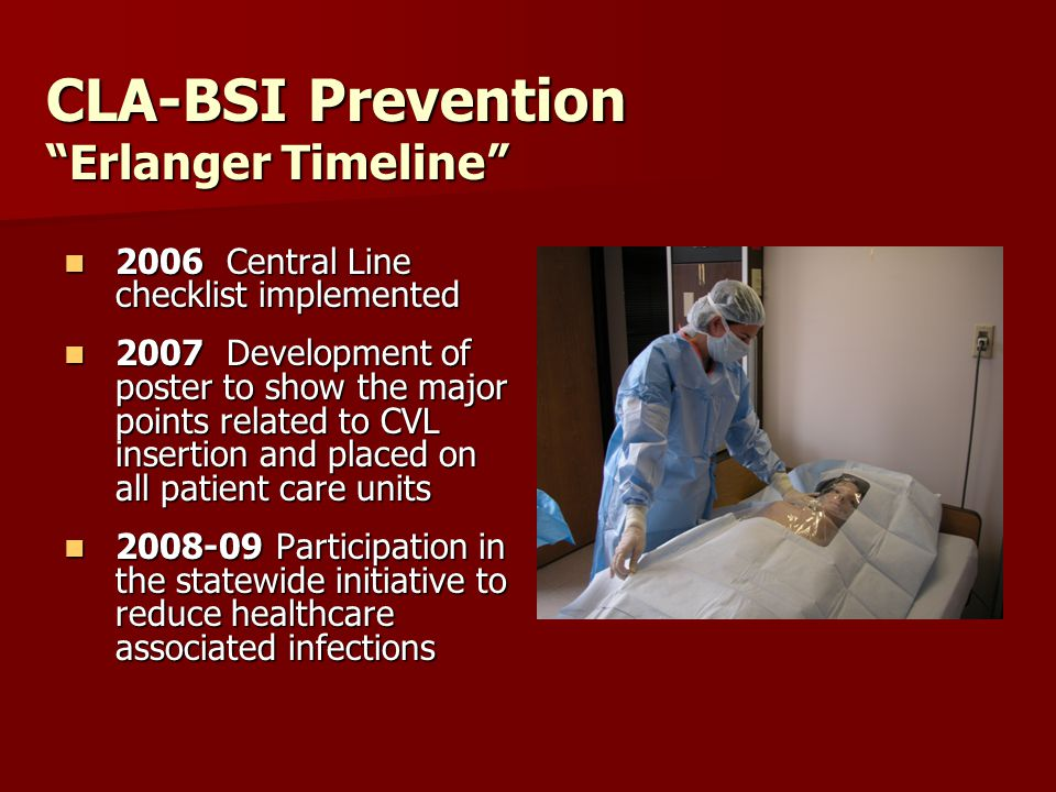 CLA-BSI Prevention Erlanger Timeline 2006 Central Line checklist implemented 2006 Central Line checklist implemented 2007 Development of poster to show the major points related to CVL insertion and placed on all patient care units 2007 Development of poster to show the major points related to CVL insertion and placed on all patient care units 2008-09 Participation in the statewide initiative to reduce healthcare associated infections 2008-09 Participation in the statewide initiative to reduce healthcare associated infections