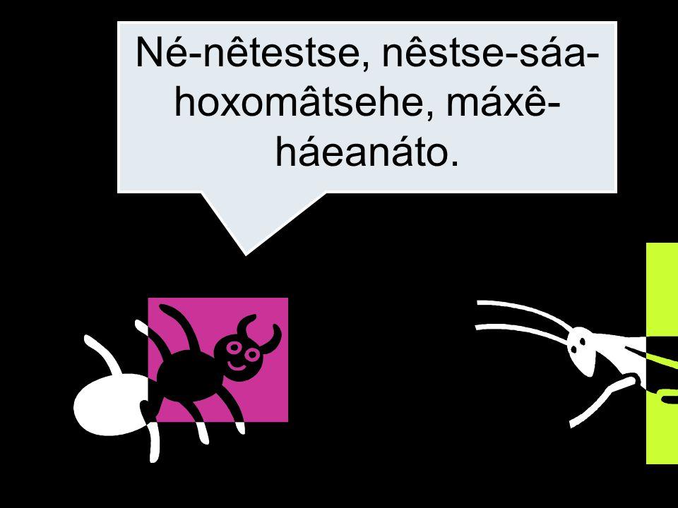 Né-nêtestse, nêstse-sáa- hoxomâtsehe, máxê- háeanáto.