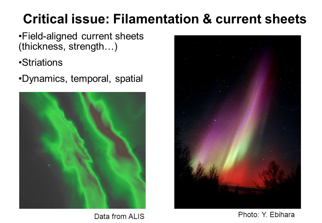 Critical issue: Filamentation & current sheets Field-aligned current sheets (thickness, strength…) Striations Dynamics, temporal, spatial Data from ALIS Photo: Y.