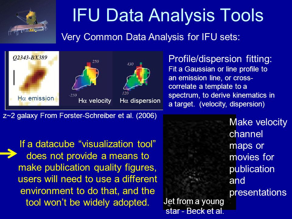 IFU Data Analysis Tools Very Common Data Analysis for IFU sets: Profile/dispersion fitting: Fit a Gaussian or line profile to an emission line, or cross- correlate a template to a spectrum, to derive kinematics in a target.