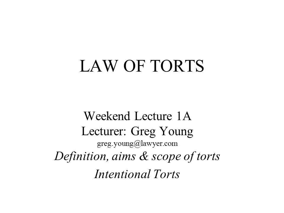 TEXT BOOKS *Baker, Blay et al Torts Law in Principle LBC 2005 4 th Ed.