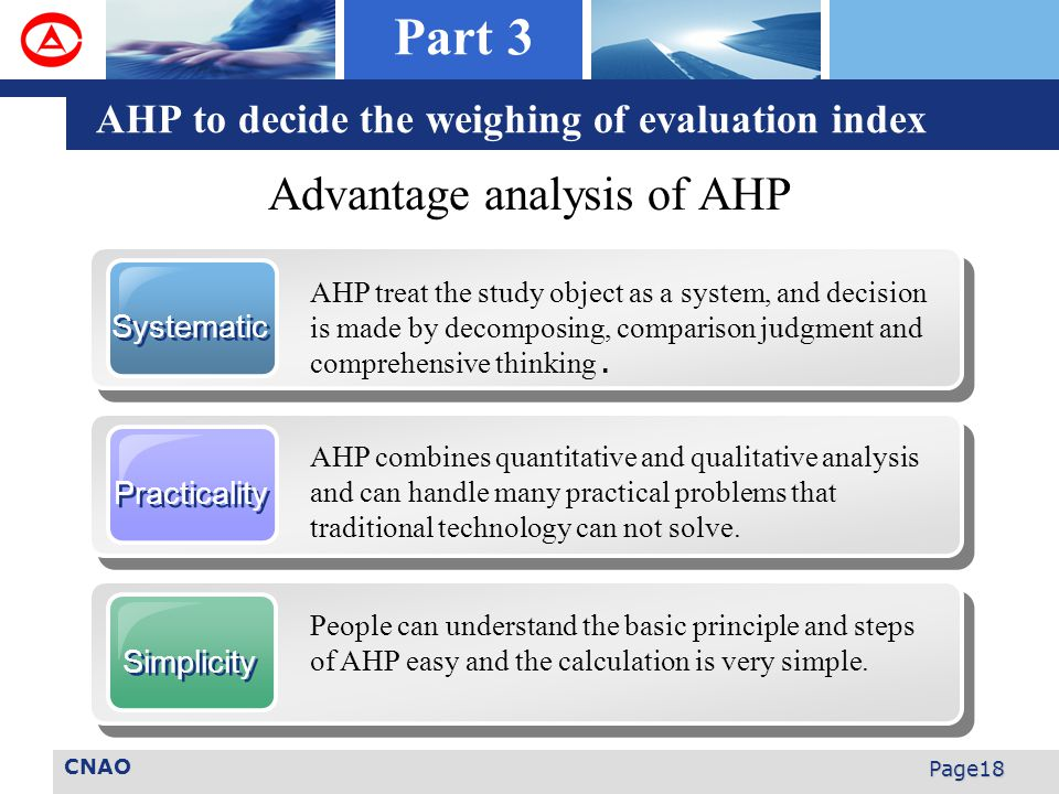 CNAO Page18 Advantage analysis of AHP AHP to decide the weighing of evaluation index Systematic AHP treat the study object as a system, and decision is made by decomposing, comparison judgment and comprehensive thinking.