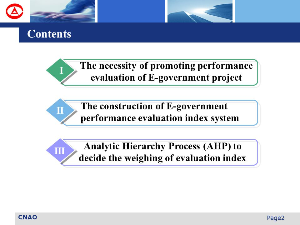 CNAO Page2 Contents The necessity of promoting performance evaluation of E-government project I The construction of E-government performance evaluation index system II Analytic Hierarchy Process (AHP) to decide the weighing of evaluation index III