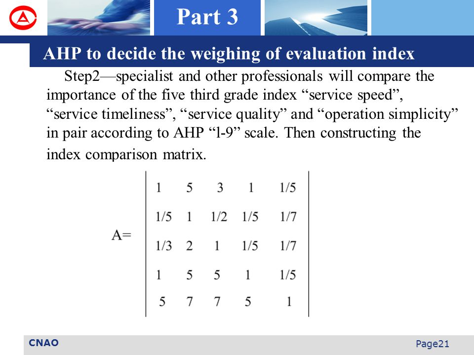 CNAO Page21 Step2—specialist and other professionals will compare the importance of the five third grade index service speed , service timeliness , service quality and operation simplicity in pair according to AHP l-9 scale.