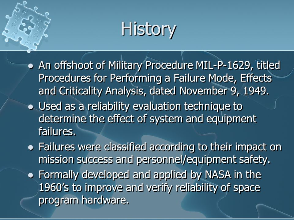 History An offshoot of Military Procedure MIL-P-1629, titled Procedures for Performing a Failure Mode, Effects and Criticality Analysis, dated November 9, 1949.