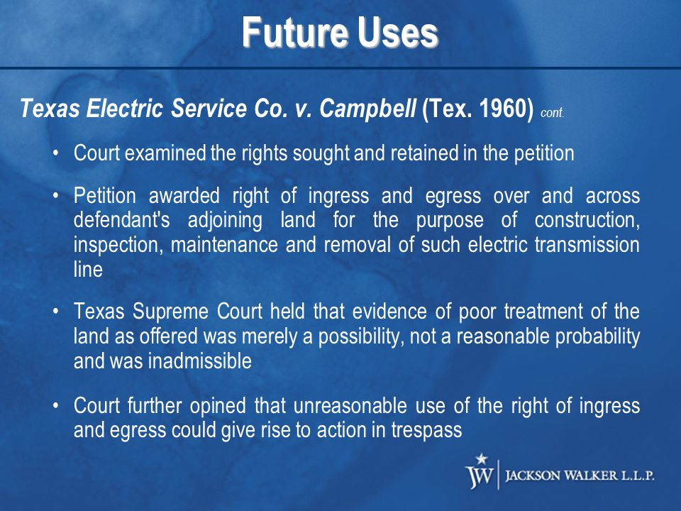 Future Uses Texas Electric Service Co. v. Campbell (Tex.