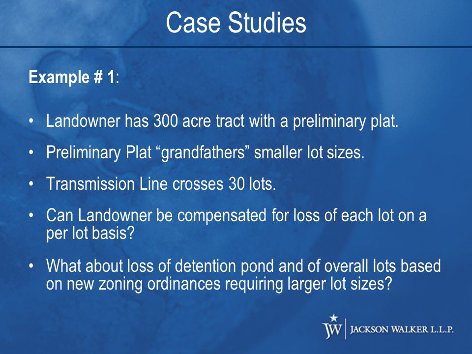 Example # 1 : Landowner has 300 acre tract with a preliminary plat.