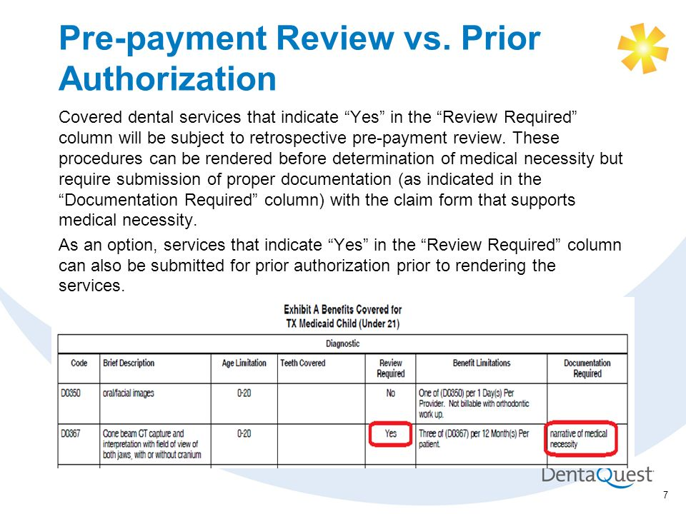 Pre-payment Review vs.
