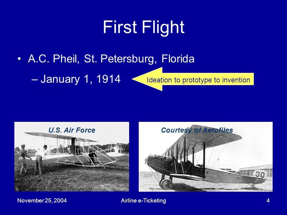 November 25, 2004Airline e-Ticketing4 First Flight Courtesy of AerofilesU.S.