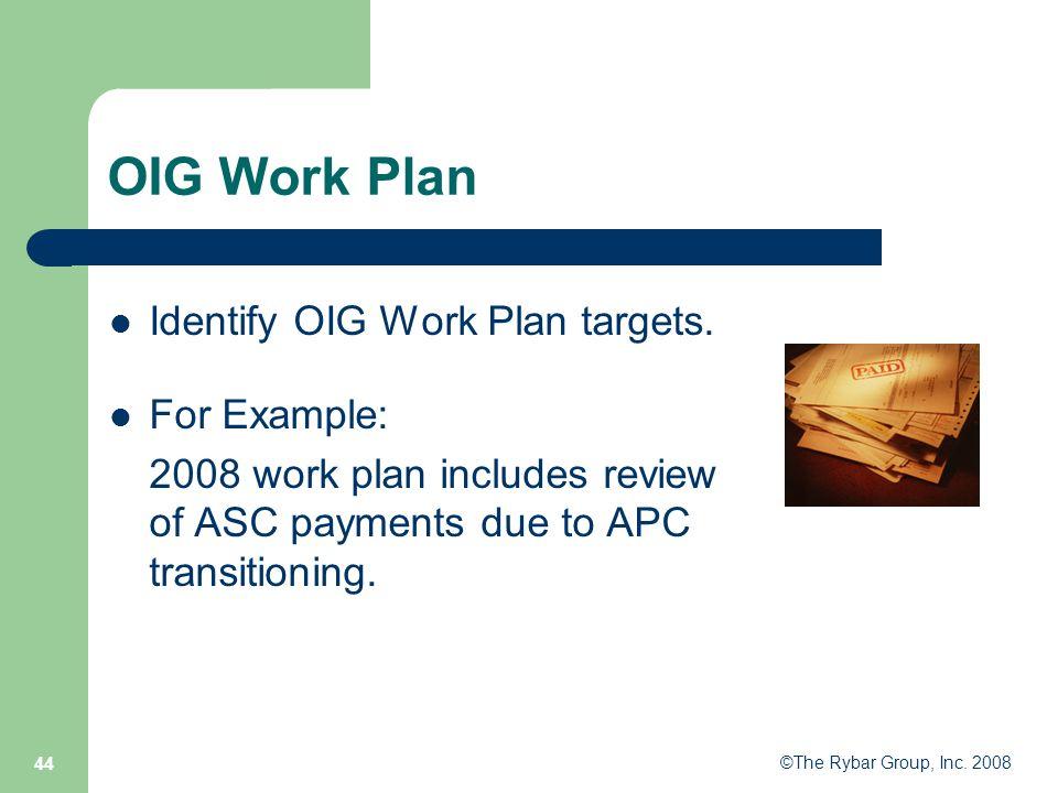 ©The Rybar Group, Inc. 2008 44 OIG Work Plan Identify OIG Work Plan targets.
