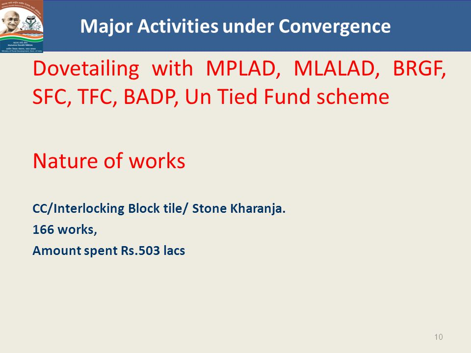 Major Activities under Convergence Dovetailing with MPLAD, MLALAD, BRGF, SFC, TFC, BADP, Un Tied Fund scheme Nature of works CC/Interlocking Block tile/ Stone Kharanja.